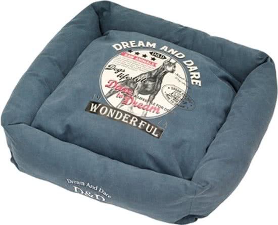 D&D Square Bed Hunt Blauw 65x65 cm