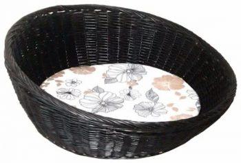 Duvo Rieten honden mand Zwart | Beige | Wit 50x50 cm