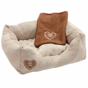 Kerbl Hondenbed Love You Beige | Roze 50x34 cm