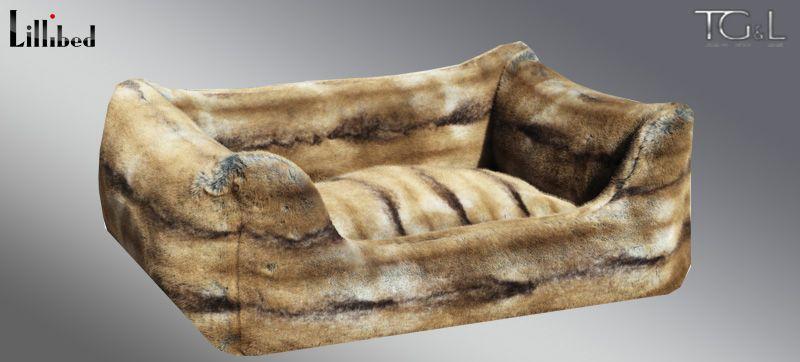 Lillibed® Hondenmand Imitatiebont Chinchilla Beige-Bruin 57 x 45 x 22 cm