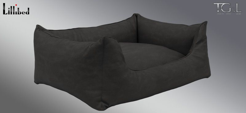 Lillibed® Hondenmand Kunstleer Nubuk Antraciet 57 x 45 x 22 cm