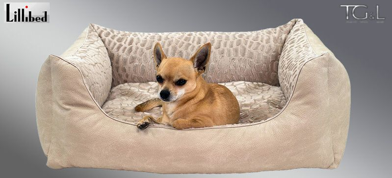 Lillibed® Hondenmand Kunstleer Nubuk Beige 57 x 45 x 22 cm