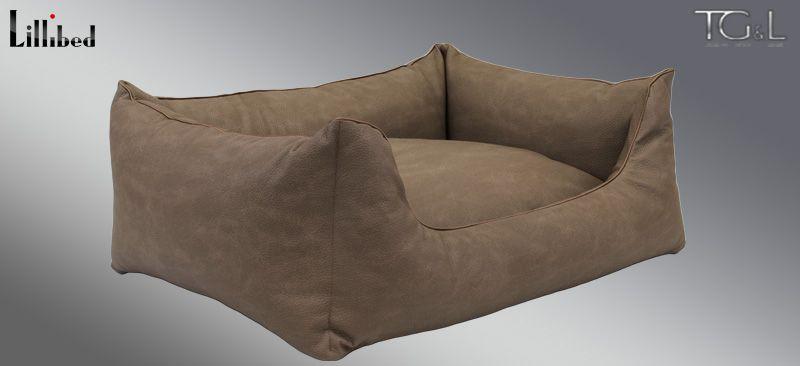 Lillibed® Hondenmand Kunstleer Nubuk Middenbruin 57 x 45 x 22 cm
