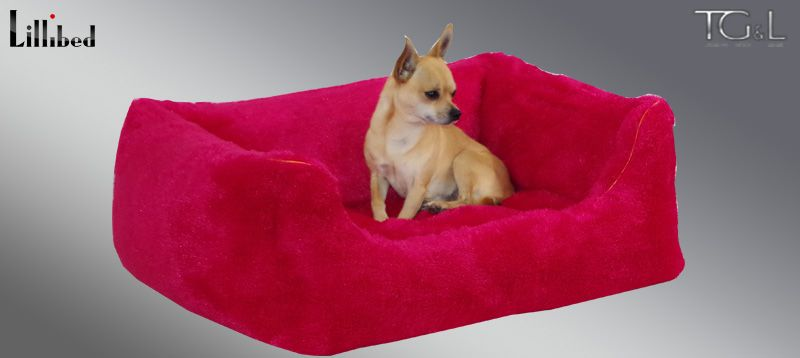 Lillibed® Hondenmand Pluche Framboosrood 57 x 45 x 22 cm
