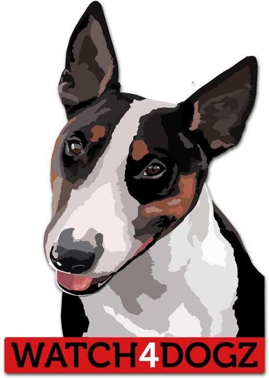 watch4dogz sticker Bull Terrier sticker (set van 2 stickers) Zwart 9x12 cm